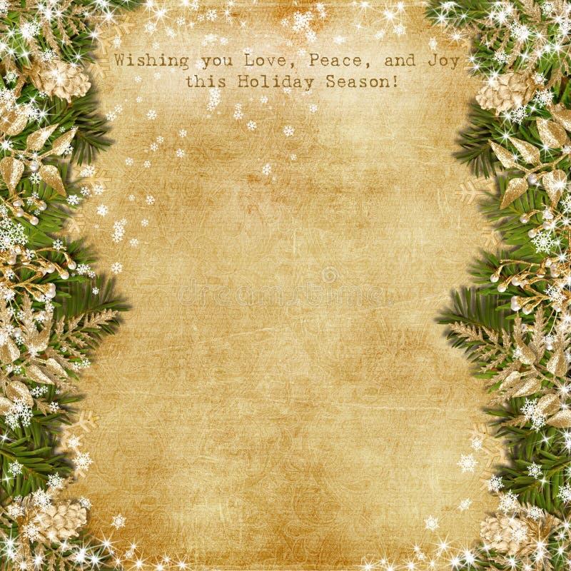 Weihnachtskarte mit Goldgirlande auf Weinlesehintergrund vektor abbildung
