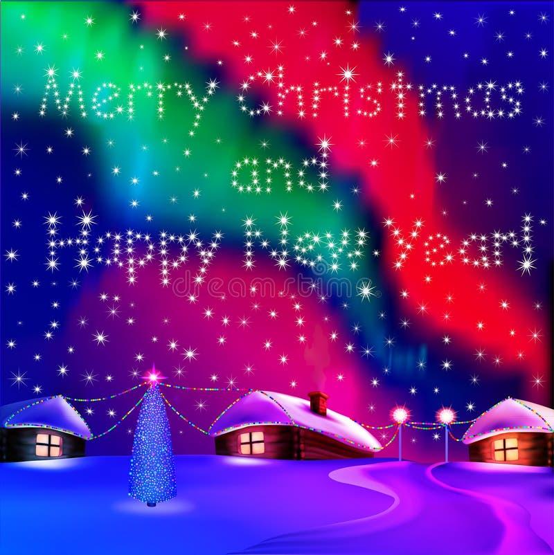 Weihnachtskarte mit Häusern und Nachtnordlichtern lizenzfreie abbildung