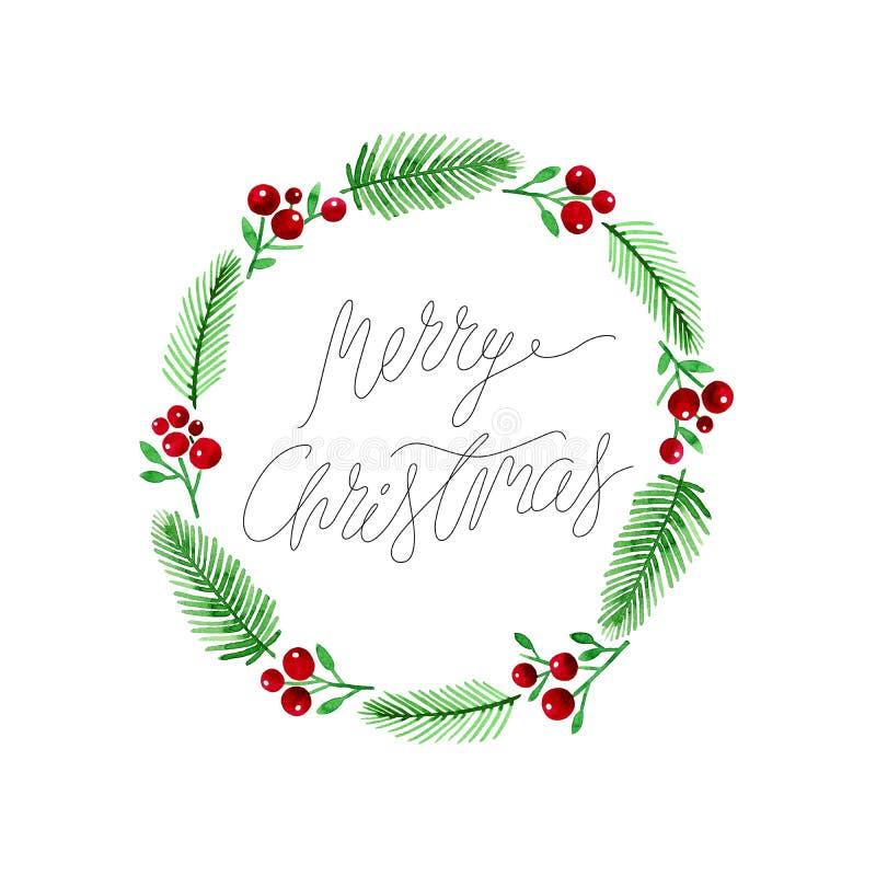 Weihnachtskarte mit Holly Berries und Fichtenzweige winden Handschrifts-Weihnachtsbeschriftung stock abbildung