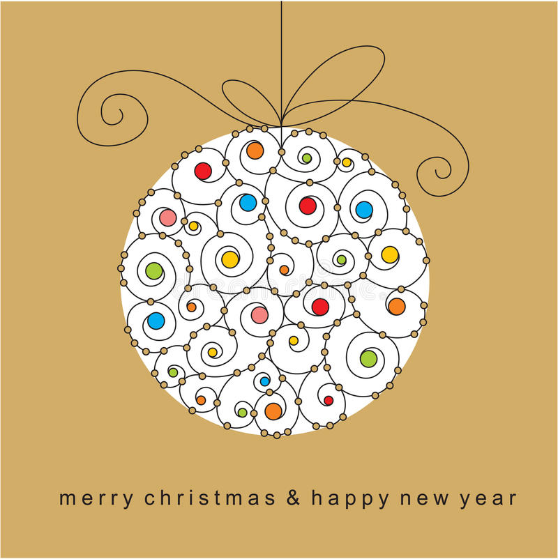 Weihnachtskarte mit Kugel lizenzfreie abbildung
