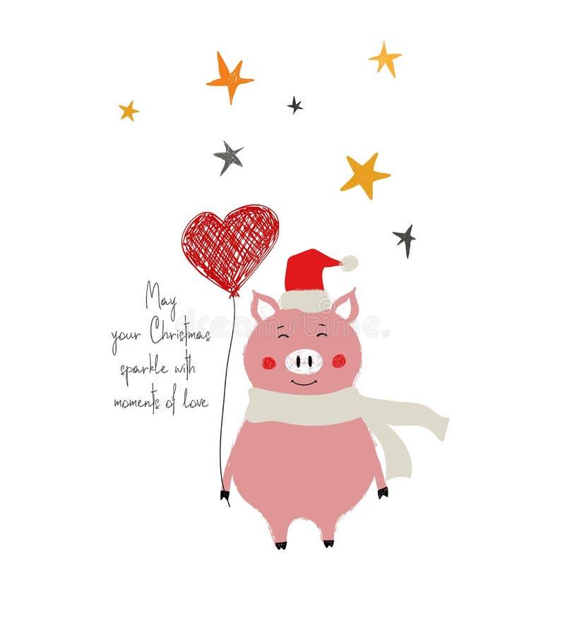 Weihnachtskarte mit nettem Schwein stock abbildung