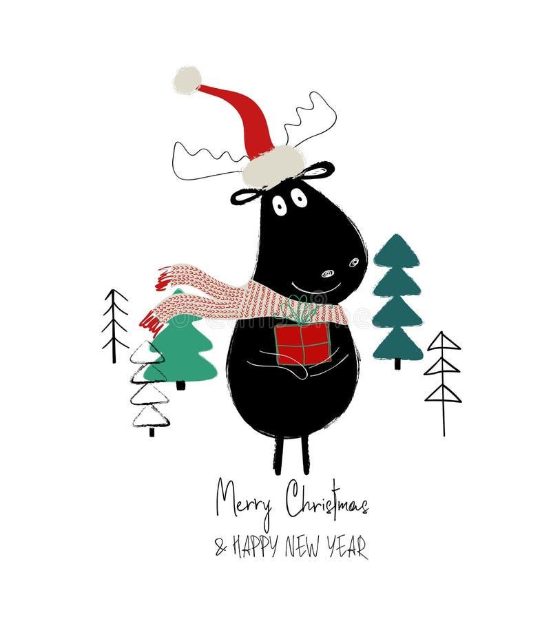 Weihnachtskarte mit netten Elchen stock abbildung