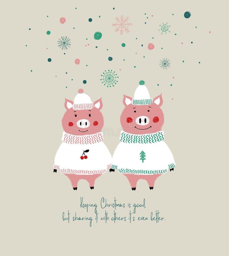 Weihnachtskarte mit netten Schweinen stock abbildung