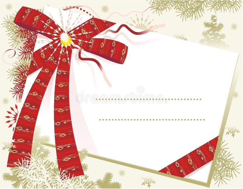 Weihnachtskarte mit rotem Bogen lizenzfreie abbildung