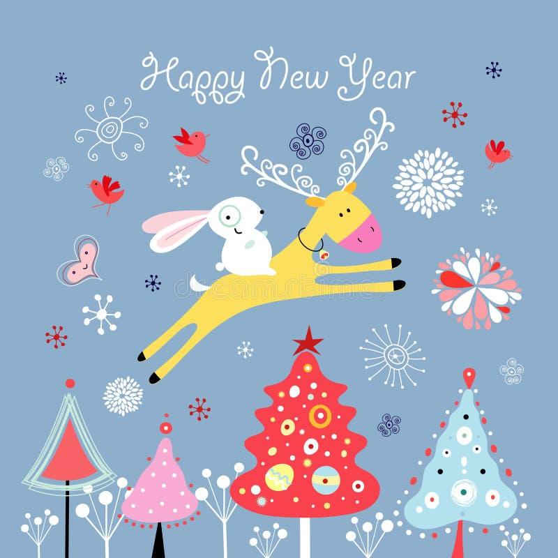 Weihnachtskarte mit Rotwild und einem Hasen stock abbildung