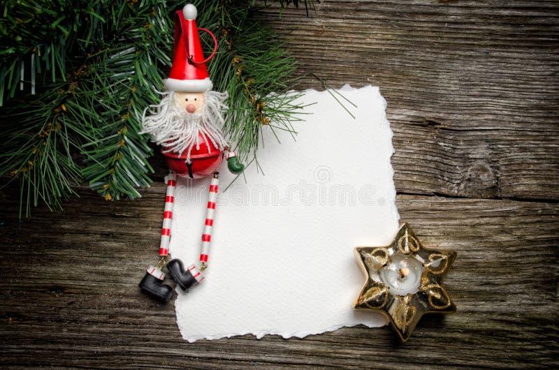 Weihnachtskarte mit Sankt lizenzfreies stockbild