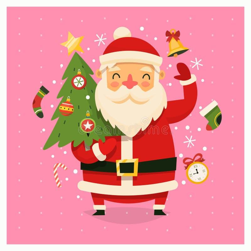 Weihnachtskarte mit Santa Claus, die verzierten Baum trägt stock abbildung