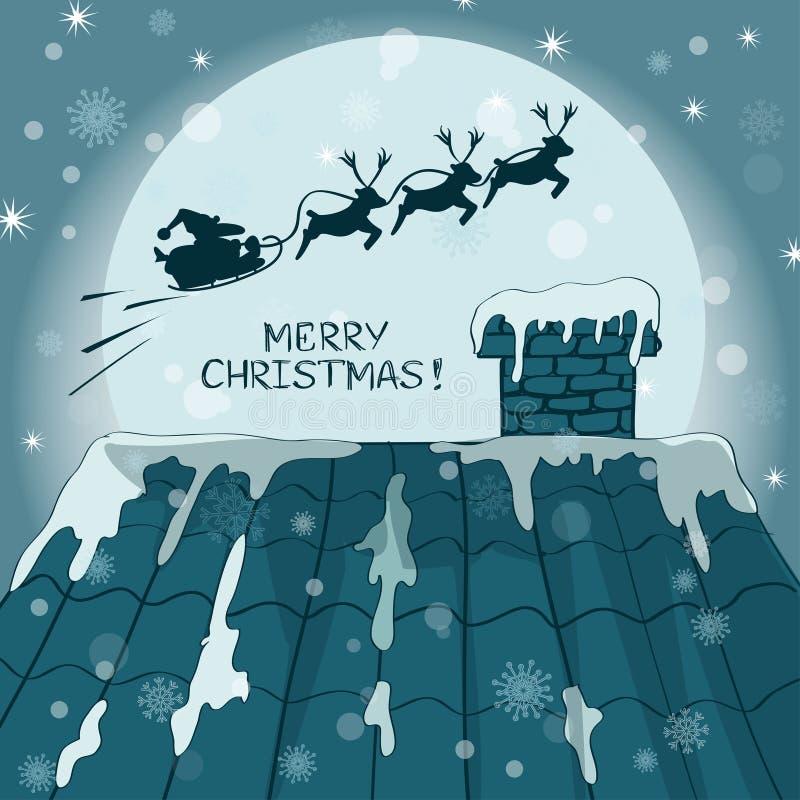 Weihnachtskarte mit Santa Claus und Ren vektor abbildung
