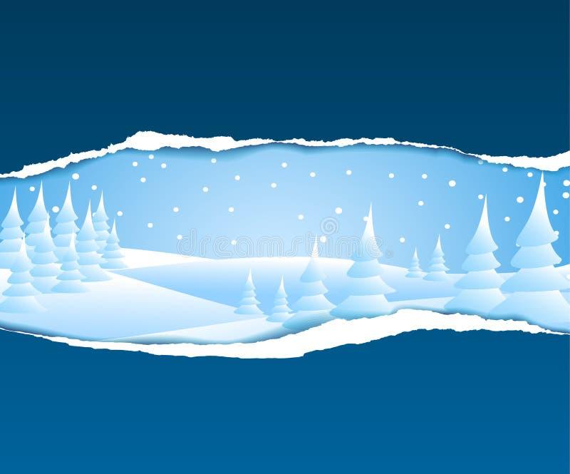Weihnachtskarte mit schneebedeckter Landschaft vektor abbildung