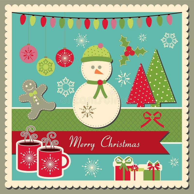 Download Weihnachtskarte Mit Schneemann Vektor Abbildung - Illustration von retro, papier: 27725256