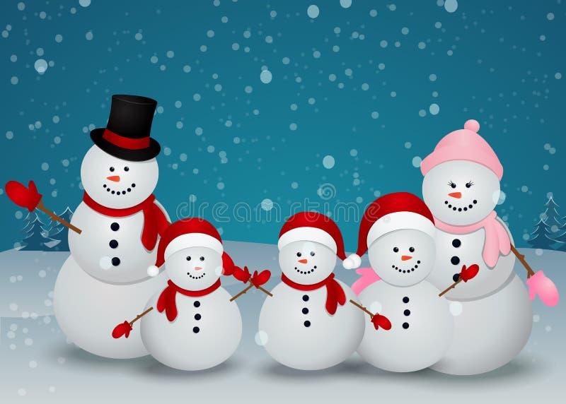 Weihnachtskarte mit Schneemann und Familie vektor abbildung