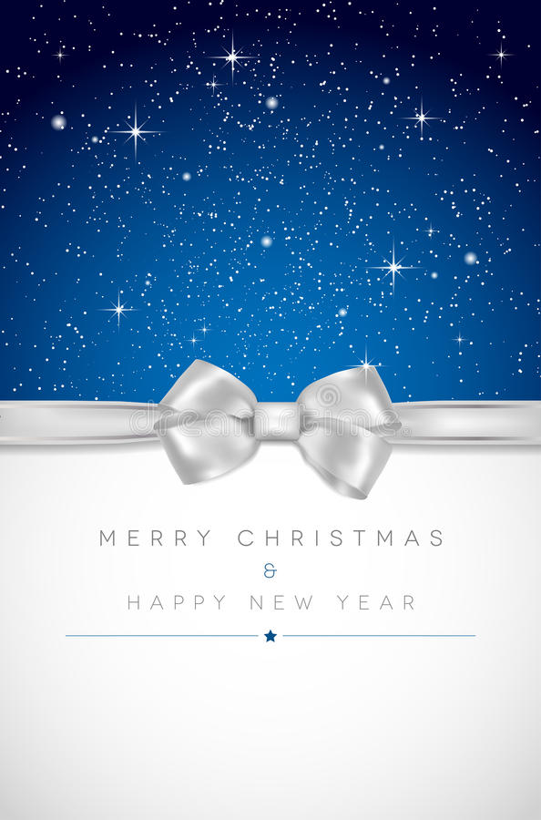 Weihnachtskarte mit silbernem Bogen, glänzenden Sternen und Platz für Ihr m vektor abbildung