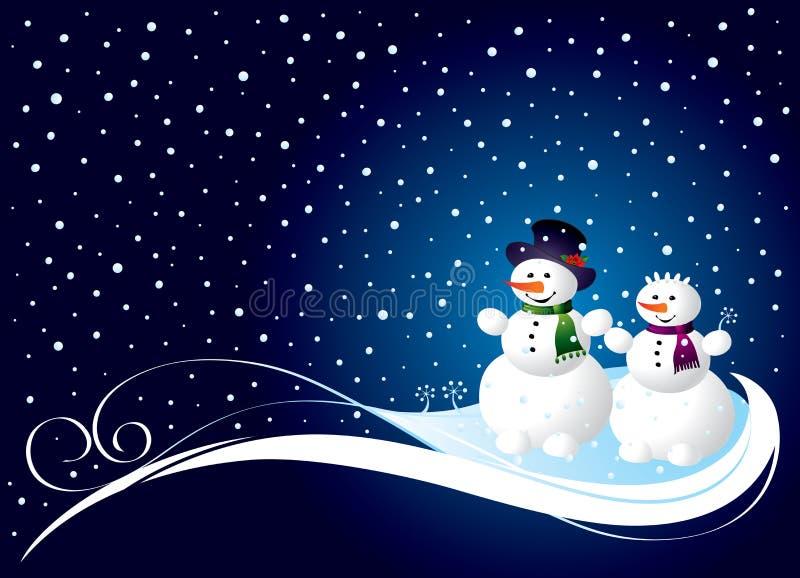 Weihnachtskarte mit smowman lizenzfreie abbildung