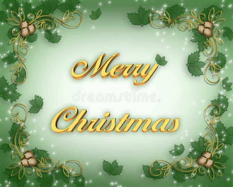 Weihnachtskarte mit Stechpalme lizenzfreie abbildung