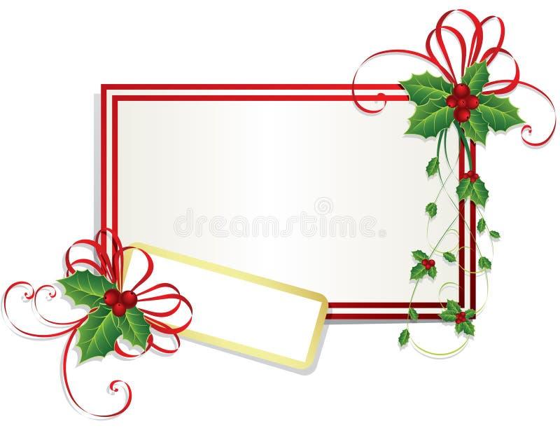 Weihnachtskarte mit Stechpalmebeeren lizenzfreie abbildung