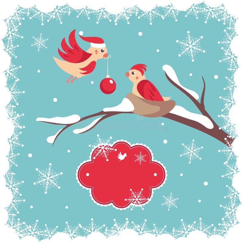 Download Weihnachtskarte mit Vögeln vektor abbildung. Illustration von feiertag - 26350214