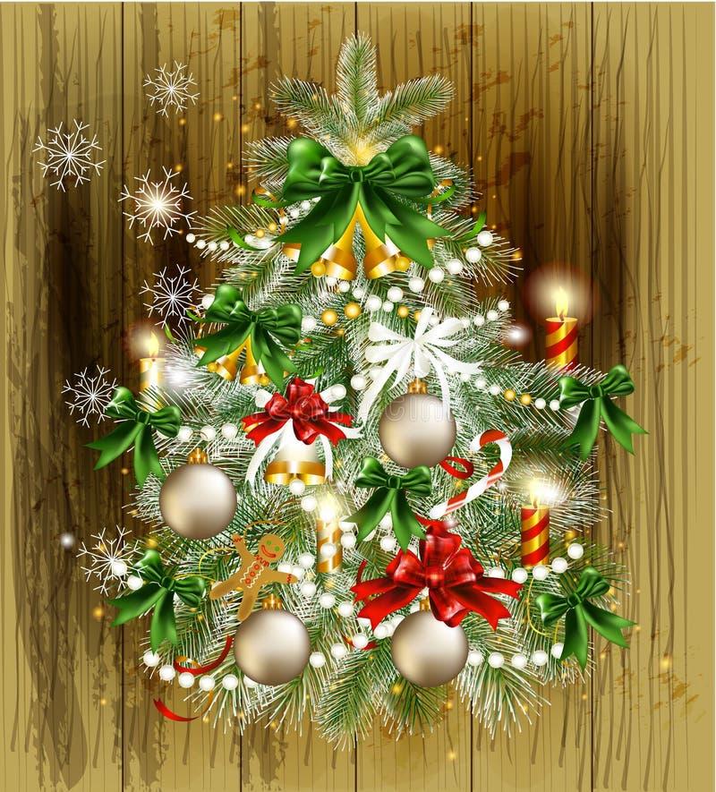 Weihnachtskarte mit verziertem Weihnachtsbaum lizenzfreie abbildung