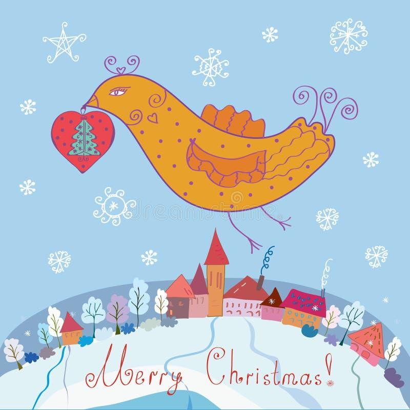 Weihnachtskarte mit Vogel stock abbildung