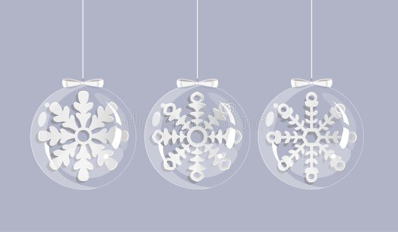 Weihnachtskarte mit weißen Schneeflocken in den Glaskugeln stock abbildung