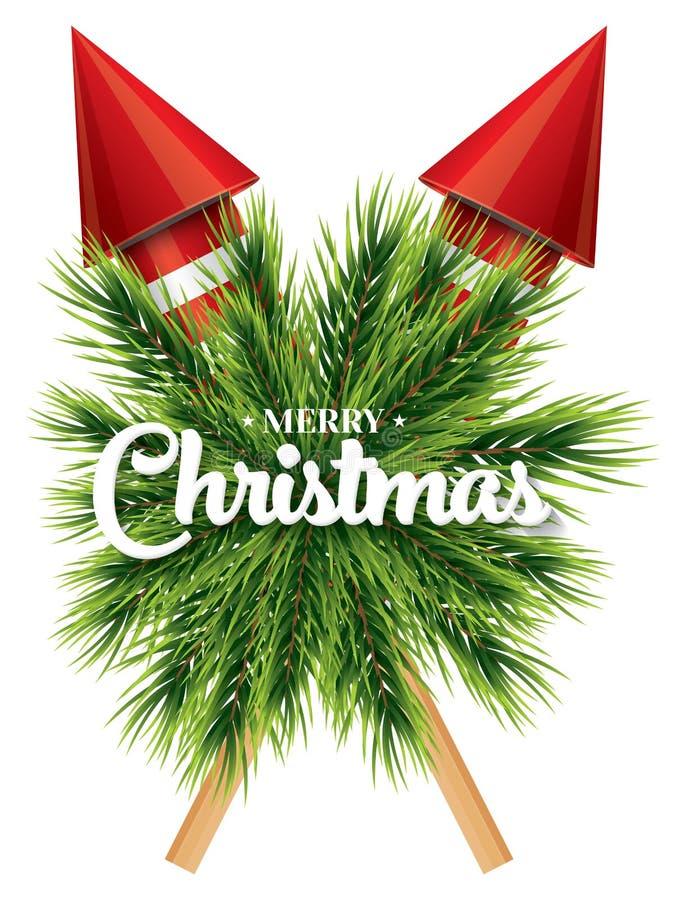 Weihnachtskarte mit weißer Schneeflocke, Kiefernniederlassung und roten Raketen stock abbildung
