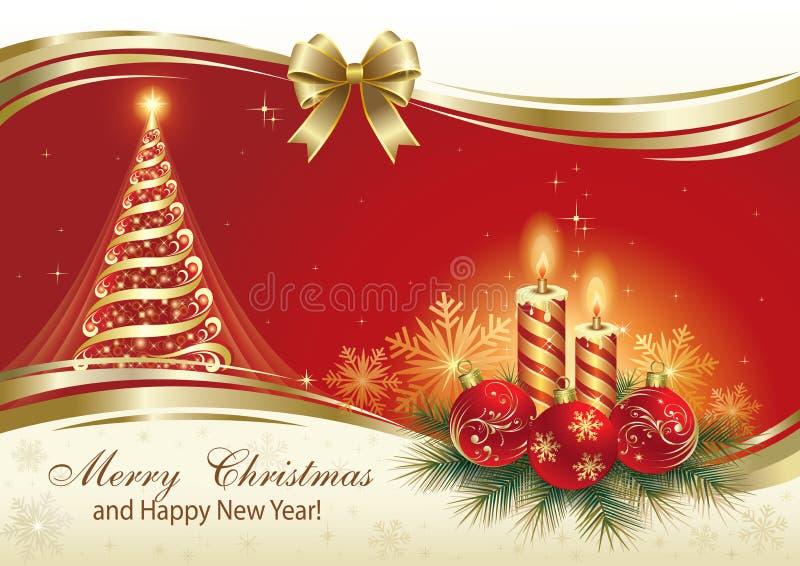 Weihnachtskarte mit Weihnachtsbaum und Kerzen vektor abbildung