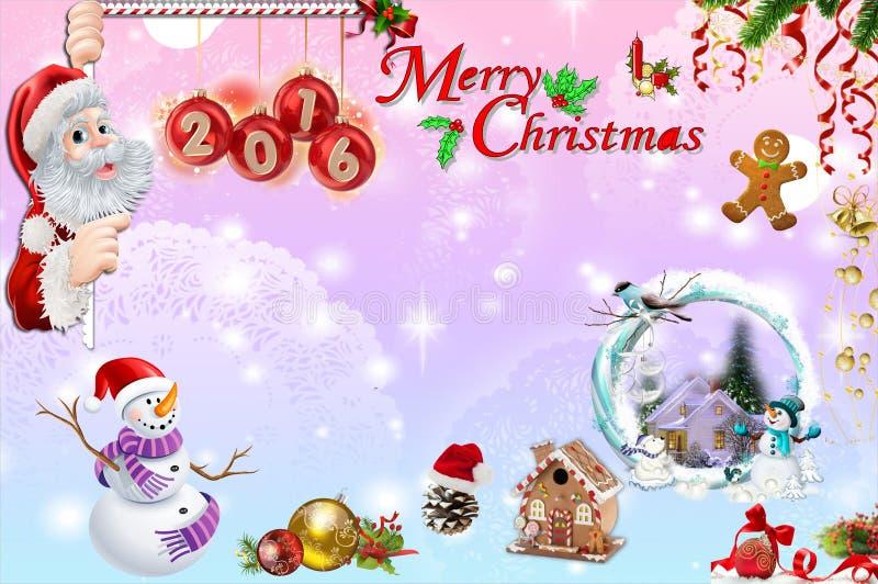 Weihnachtskarte mit Weihnachtsmann 2016 lizenzfreie stockfotografie