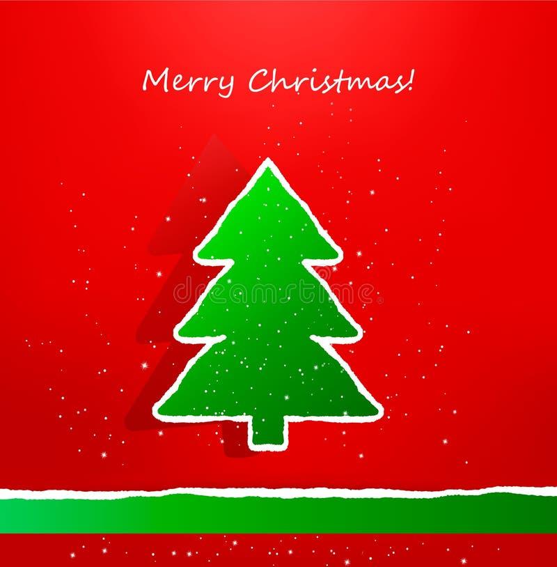 Weihnachtskarte mit zerrissenem Papierbaum. Vektor vektor abbildung