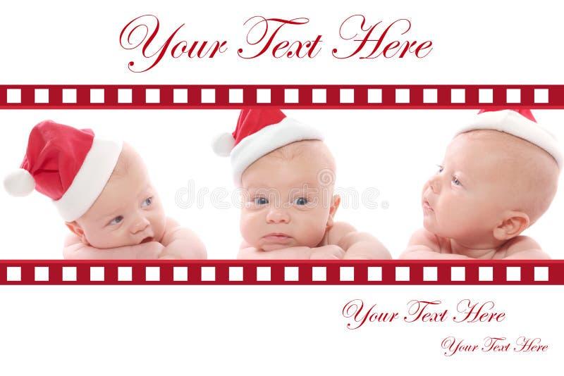 Weihnachtskarte: Schätzchen im Sankt-Hut lizenzfreies stockfoto