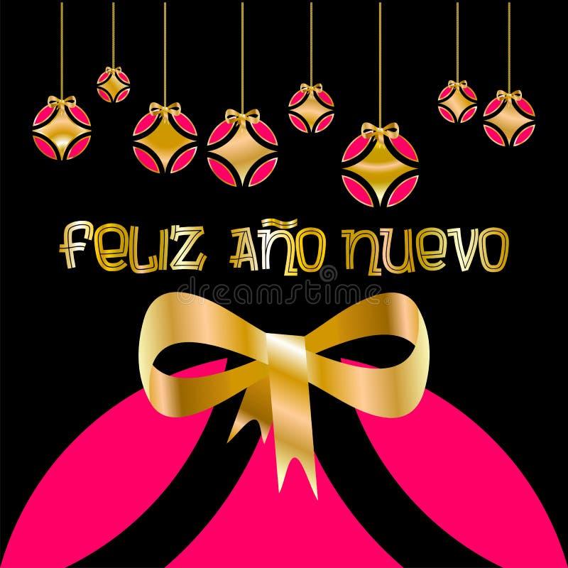 Weihnachtskarte verziert mit farbigen Bällen und goldenem Bogen und ` guten Rutsch ins Neue Jahr ` geschrieben in spanische Sprac vektor abbildung