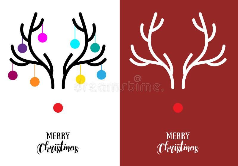 Weihnachtskarten mit den Geweihen, Vektor vektor abbildung