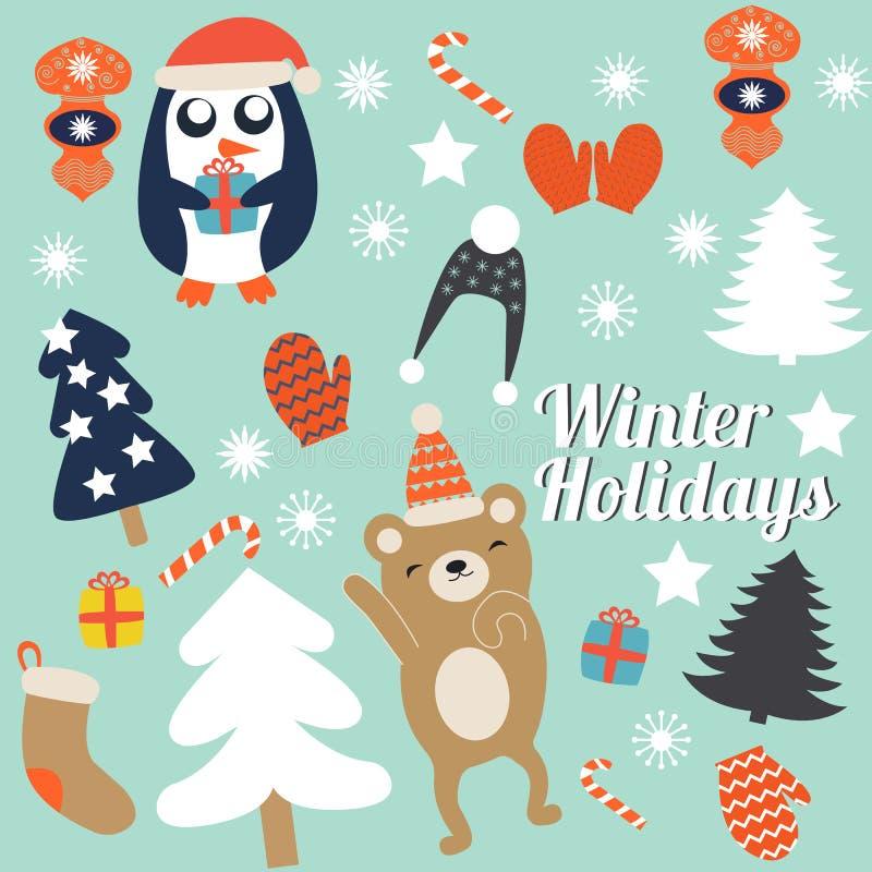 Weihnachtskarten mit netten Bäumen, Handschuhe und Weihnachtsspielwaren, Pinguin in der Winterkappe mit Geschenk und Tanzen trage lizenzfreie abbildung