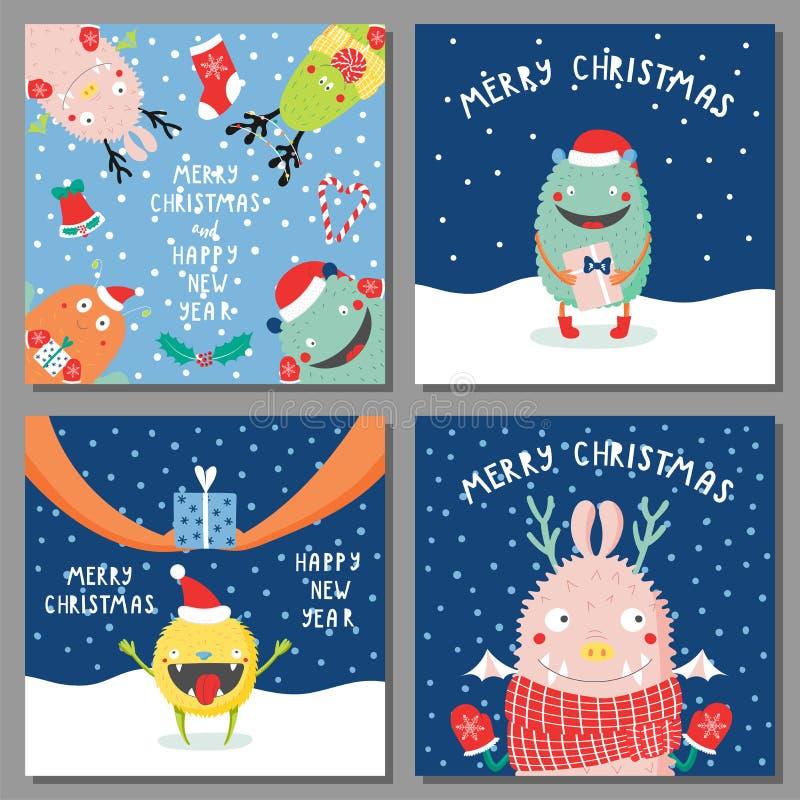Weihnachtskarten mit netten lustigen Monstern lizenzfreie abbildung