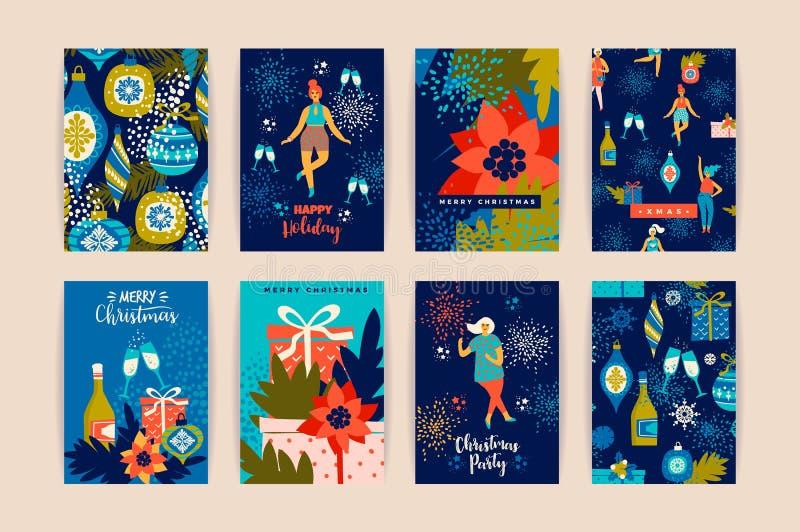Weihnachtskarten mit Tanzenfrauen und Symbolen des neuen Jahres s vektor abbildung