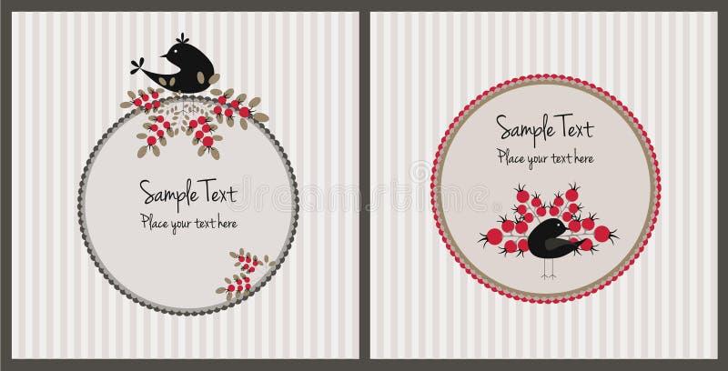 Weihnachtskarten mit Vögeln und Beeren lizenzfreie abbildung