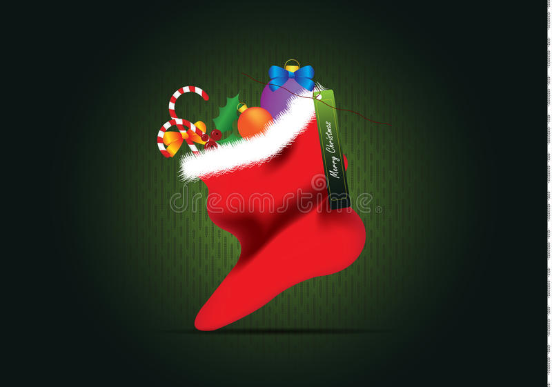 Weihnachtskarten-Weihnachtssocke lizenzfreies stockfoto