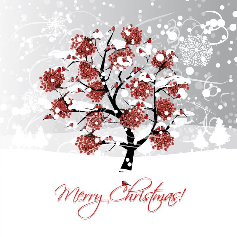 Weihnachtskartendesign mit Winterebereschenbaum und lizenzfreie abbildung