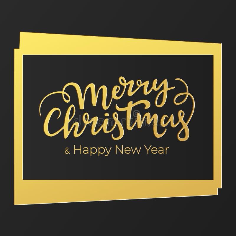 Weihnachtskartenentwurf in den schwarzen und goldenen Luxusfarben mit handgeschriebener festlicher Beschriftung lizenzfreie abbildung