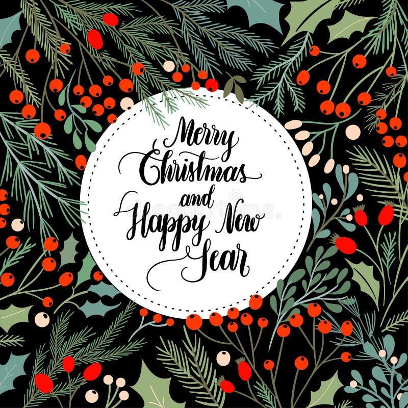 Weihnachtskartenentwurf mit dekorativem Rahmen, Saisonanlagen und Handbeschriftung lizenzfreie abbildung