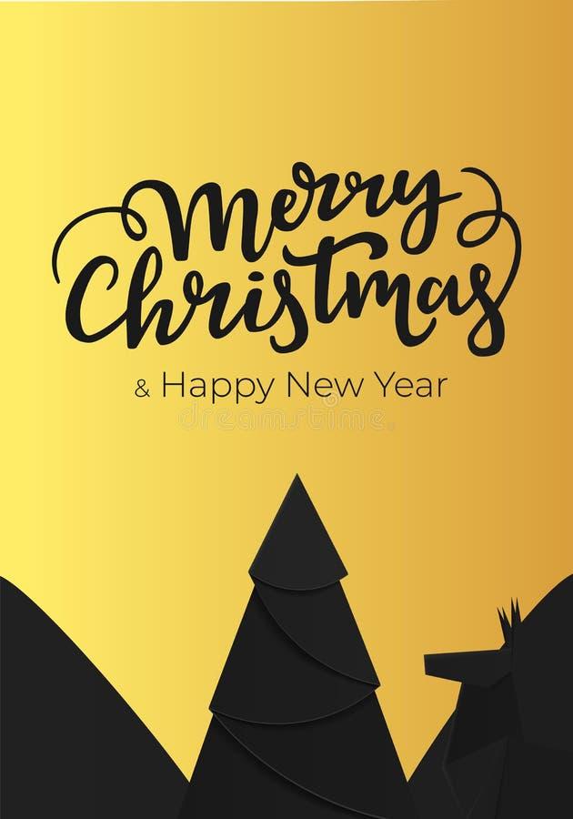 Weihnachtskartenentwurf mit festlicher Handbeschriftung Festliche Karte für die Winterurlaube gemacht vom schwarzen Papier und vo lizenzfreie abbildung