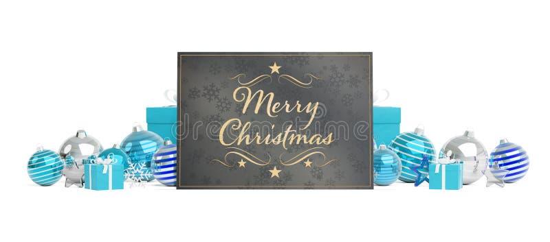 Weihnachtskartengrüße, die auf lokalisierten blauen weißen Flitter 3 legen lizenzfreie abbildung
