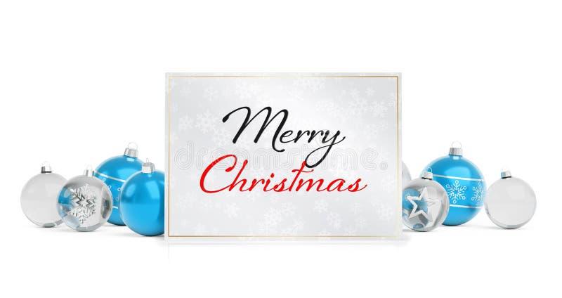 Weihnachtskartengrüße, die auf lokalisierten blauen weißen Flitter 3 legen vektor abbildung