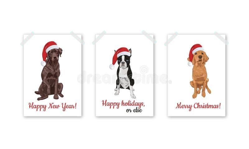 Weihnachtskartensatz mit Sankt-Hunden lokalisiert auf weißem Hintergrund lizenzfreie abbildung