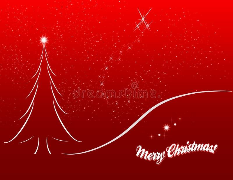Weihnachtskartenskizze auf rotem Hintergrund lizenzfreie abbildung