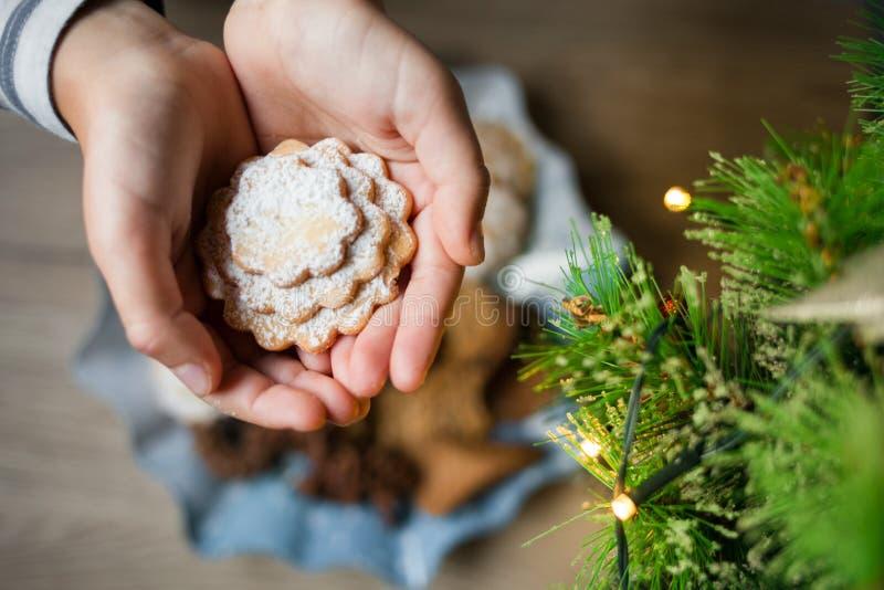 Weihnachtskekse in Form des Herzens in den Palmen der Kinder stockbild