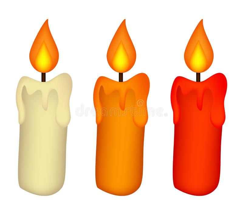 Weihnachtskerzensatz, brennende Wachskerzenikone, Symbol, Design Wintervektorillustration lokalisiert auf weißem Hintergrund lizenzfreie abbildung
