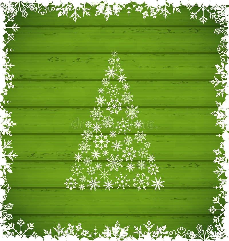Weihnachtskiefer und -grenze gemacht von den Schneeflocken auf grünem hölzernem Ba lizenzfreie abbildung