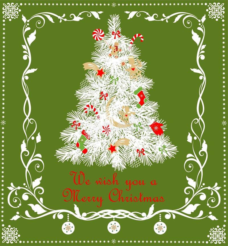 Weihnachtskindische Applikation mit der Papiertanne und Papier, die goldene Engel, Lebkuchen, Schneeflocken, Bonbons und Blumengr stock abbildung