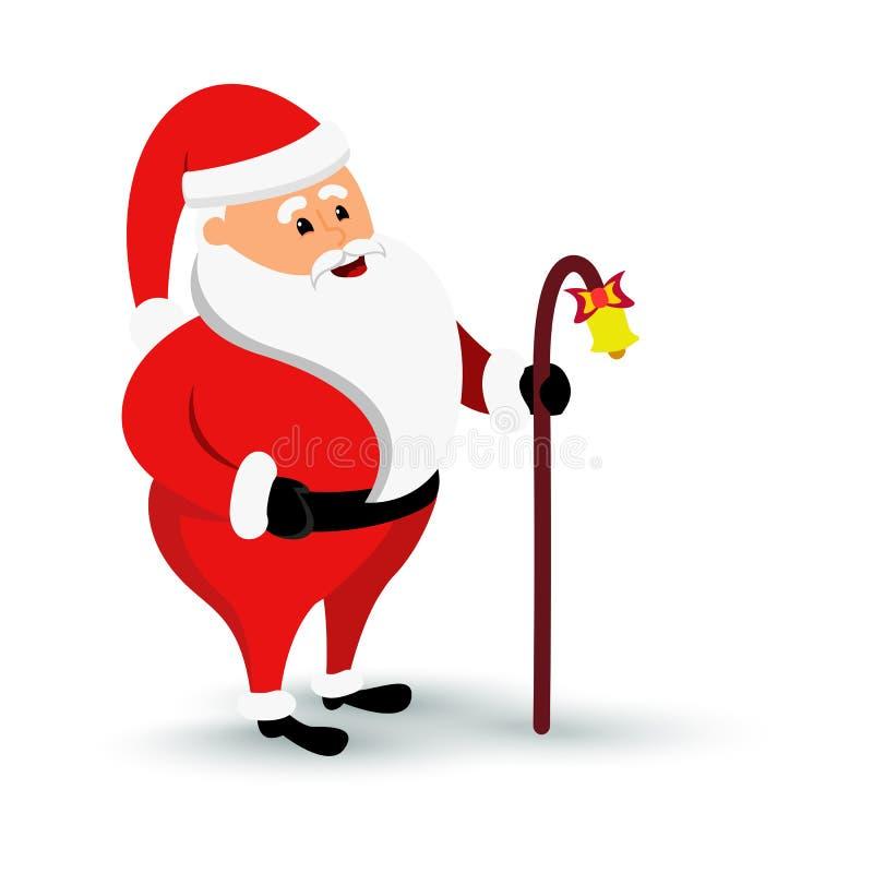 Weihnachtskommt lächelnder Santa Claus-Charakter Bärtiger Mann der Karikatur im festlichen Kostüm Santa Claus mit baculus und stock abbildung