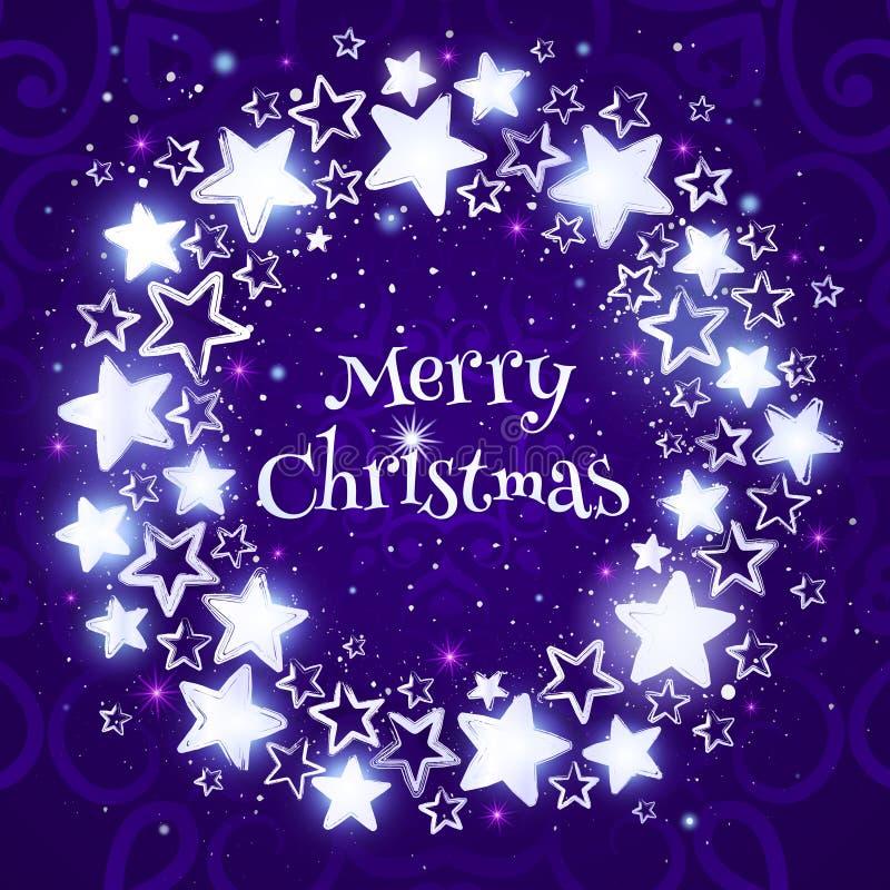 Weihnachtskranz auf purpurrotem Hintergrund Kreiszusammensetzung mit glänzenden Sternen vektor abbildung