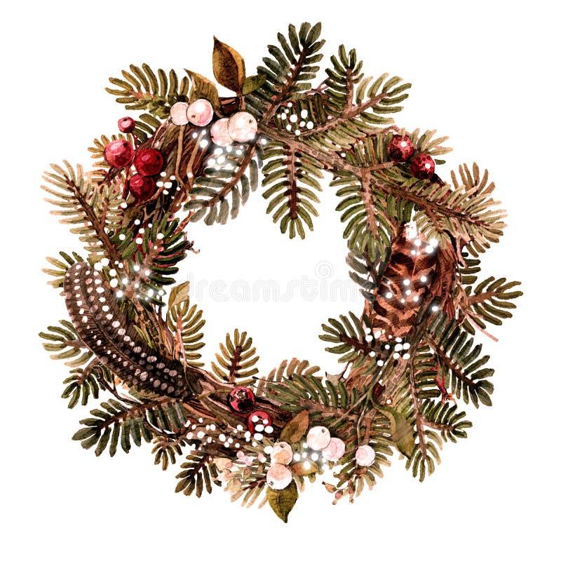 Weihnachtskranz aus Naturmaterialien, Fichten, Federn, Beeren Aquarellbild lizenzfreie abbildung
